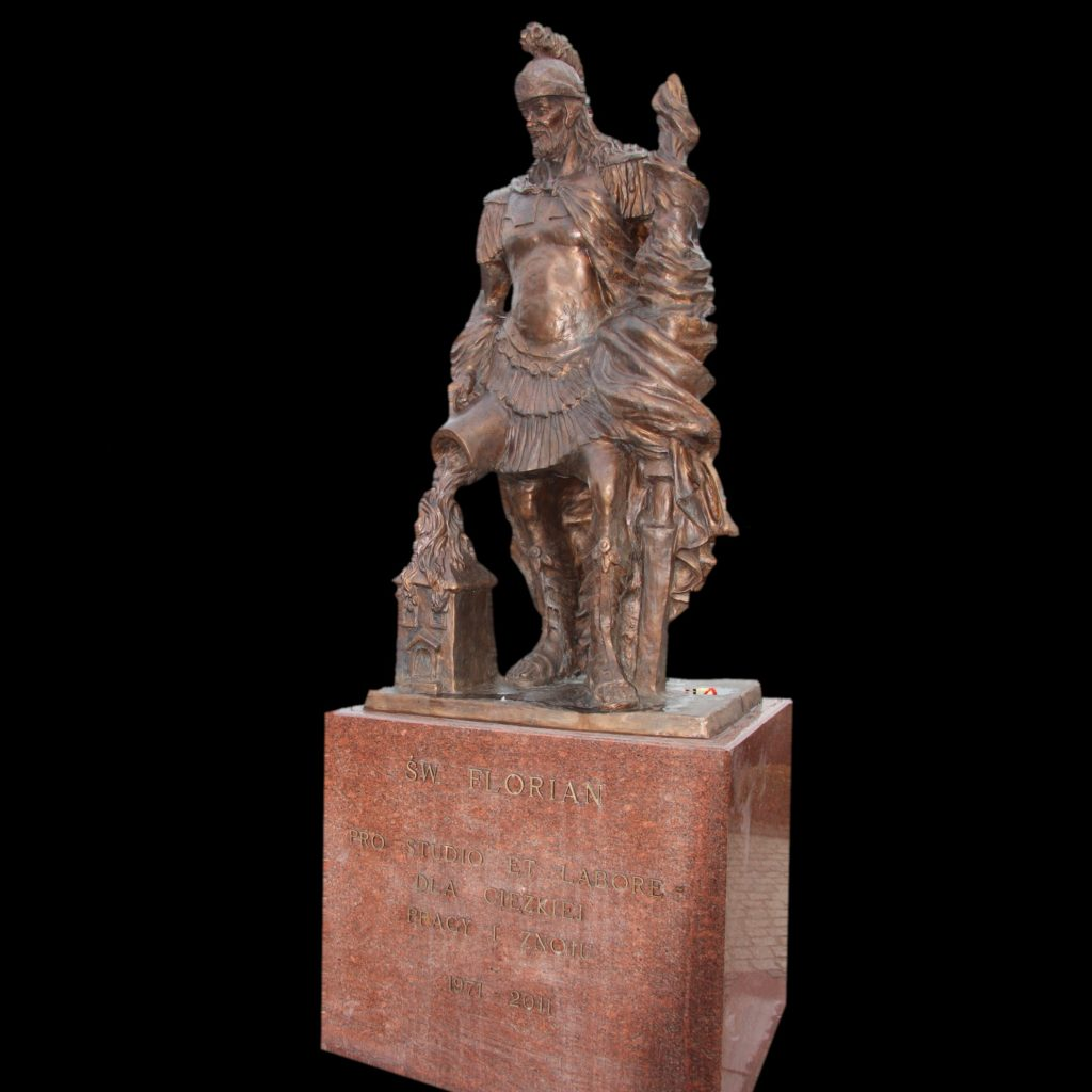 The monument of Saint Florian, sculpture made od bronze, big sculpture, bronze sculpture of saint florian, saint florian made of bronze