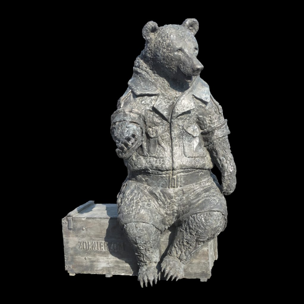Teddy bear Wojtek, Teddy bear Wojtek made of bronze, Teddy bear Wojtek cast in bronze gasrtkastudio
