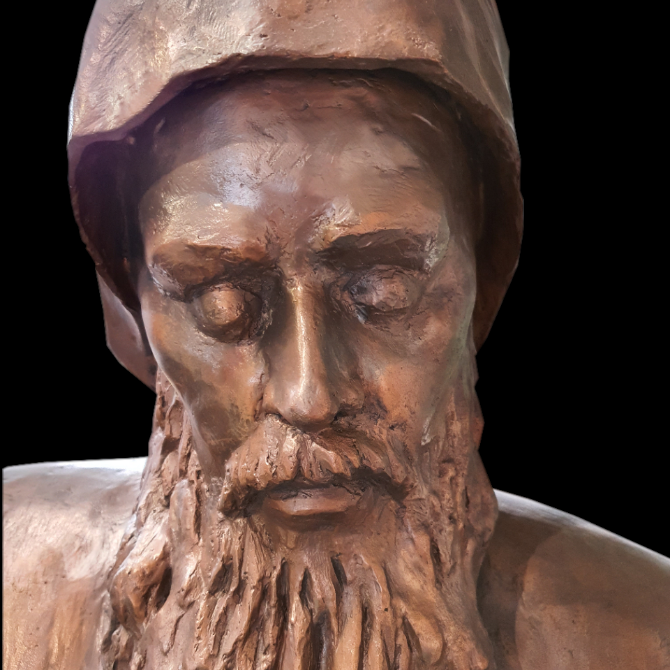 Bust of St. Szarbel made of bronze.