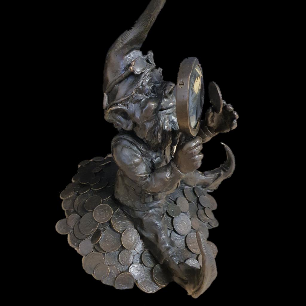 Wroclaw dwarf Numismatist bronze cast